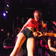 A fan crowdsurfs during Say Anything at Amos Southend in 2014.