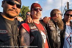 Son of Silence MC members at Junction and Lazelle during the annual Sturgis Black Hills Motorcycle Rally. Sturgis, SD, USA. Monday August 7, 2017. Photography ©2017 Michael Lichter.