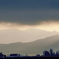 Fog shrouds farm in Samish River Valley.