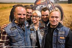 "Lorenzo ""Boccin"" and Donatella ""Tella"" Boccin with the Boccin Custom Cycles crew at Motor Bike Expo. Verona, Italy. Thursday January 18, 2018. Photography ©2018 Michael Lichter."