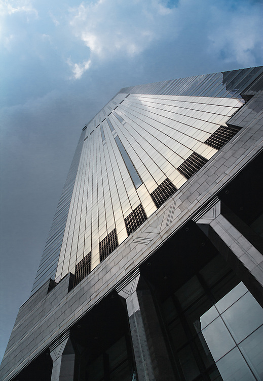 a skyscraper in Hong Kong. Hong Kong is one of the most busiest business cities in the world.