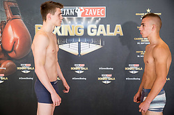 Jan Sekol of Slovenia and Damjan Gramusa of Serbia pose during Official weighting ceremony one day before Dejan Zavec Boxing Gala event in Laško, on April 20, 2017 in Thermana Lasko, Slovenia. Photo by Vid Ponikvar / Sportida