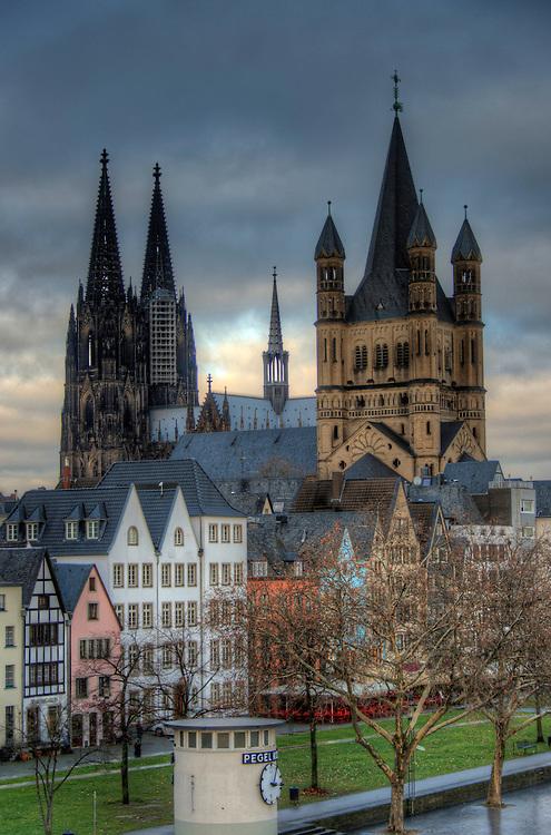View of Köln inner city from the Deutzer Bridge.