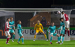 LONDON, ENGLAND - Friday, October 30, 2020: Arsenal's William Saliba sees his header saved during the Premier League 2 Division 1 match between Arsenal FC Under-23's and Liverpool FC Under-23's at Meadow Park. Liverpool won 1-0. (Pic by David Rawcliffe/Propaganda)