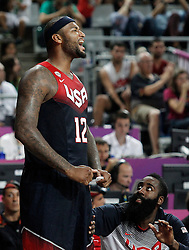 09.09.2014, City Arena, Barcelona, ESP, FIBA WM, Slowenien vs USA, im Bild USA's DeMarcus Cousins (l) and James Harden celebrate // during FIBA Basketball World Cup Spain 2014 match between Slovenia and USA at the City Arena in Barcelona, Spain on 2014/09/09. EXPA Pictures © 2014, PhotoCredit: EXPA/ Alterphotos/ Acero<br /> <br /> *****ATTENTION - OUT of ESP, SUI*****