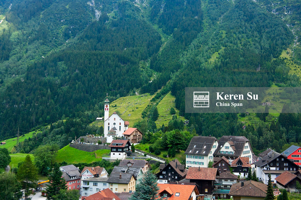 Farm land and houses in the mountain, Geneva Lake area, Switzerland