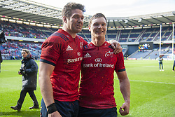 March 30, 2019 - Edinburgh, Scotland, United Kingdom - Billy Holland and Tyler Bleyendaal of Munster celebrate during the Heineken Champions Cup Quarter Final match between Edinburgh Rugby and Munster Rugby at Murrayfield Stadium in Edinburgh, Scotland, United Kingdom on March 30, 2019  (Credit Image: © Andrew Surma/NurPhoto via ZUMA Press)