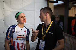Megan Guarnier (Boels-Dolmans Cycling Team) discusses the race after the podium ceremony.