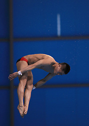 © Licensed to London News Pictures. London, UK. 27/04/2014. London, UK.  Chinese JIAN YANG at the FINA Diving World Series final at the Aquatics Centre, Queen Elizabeth Olympic Park. Photo credit: LNP