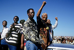 1994 - South Africa - NELSON MANDELA greets people during a campaign tour stop at Bisho stadium leading up to the 1994 elections. .(Credit Image: © Greg Marinovich/ZUMA Wire/ZUMAPRESS.com)