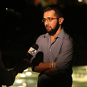Jaber Nyrabeah, Chairman of the Local Chapter of the Syrian American Council speaks to the media during a candlelight vigil in memory of American freelance journalist Steven Sotloff at the University of Central Florida in Orlando, Florida, USA, 03 Septemvber 2014. Sotloff was reportedly executed by the Islamic State according to a video released by the group on 02 September. Sotloff was a former student at the university.