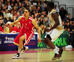 Bristol Academy Flyers' Roy Owen runs down the court on the counter attack - Photo mandatory by-line: Dougie Allward/JMP - Tel: Mobile: 07966 386802 23/03/2013 - SPORT - Basketball - WISE Basketball Arena - SGS College - Bristol -  Bristol Academy Flyers V Essex Leopards