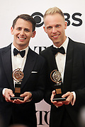 June 10, 2017-New York, New York-United States: Writers Ben Passek and Justin Paul attend the 71st Annual Tony Awards Media Room held at Radio City on June 11, 2017 in New York City. The Tony Awards recognize achievement in Broadway productions during the 2016–17 season.  (Photo by Terrence Jennings/terrencejennings.com)