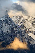 Close up of Grand Teton in a snow storm, Grand Teton National Park, Wyoming.
