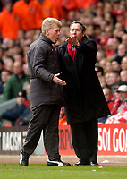 Photo. Jed Wee.<br /> Liverpool v Wolverhampton Wanderers, FA Barclaycard Premiership, Anfield, Liverpool. 20/03/2004.<br /> Liverpool manager Gerard Houllier (R) has to be told to calm down.