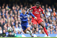 Eden Hazard of Chelsea runs past Daniel Amartey of Leicester city. Premier league match, Chelsea v Leicester city at Stamford Bridge in London on Saturday 15th October 2016.<br /> pic by John Patrick Fletcher, Andrew Orchard sports photography.