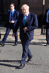 © Licensed to London News Pictures. 02/10/2019. London, UK. Conservative party leader Boris Johnson arrives to make a keynote speech at the end of the Conservative party conference. Photo credit: Ray Tang/LNP