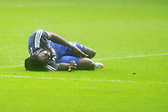 Kenwyne Jones of Cardiff city lies injured on the pitch during second half and has to leave the field of play injured. Skybet football league championship match, Cardiff city v Wolverhampton Wanderers at the Cardiff city stadium in Cardiff, South Wales on Saturday 22nd August 2015.<br /> pic by Andrew Orchard, Andrew Orchard sports photography.