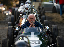 Boness Revival hillclimb motorsport event in Boness, Scotland, UK. The 2019 Bo'ness Revival Classic and Hillclimb, Scotland's first purpose-built motorsport venue, it marked 60 years since double Formula 1 World Champion Jim Clark competed here.  It took place Saturday 31 August and Sunday 1 September 2019. Drivers line up in paddock before start
