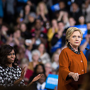 Democratic Presidential nominee, Hillary Clinton, speaks along side First Lady, Michelle Obama, at a rally in NC.