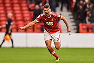 Nottingham Forest defender Eric Lichaj (2) celebrates after scoring a goal to make it 2-0 during the EFL Sky Bet Championship match between Nottingham Forest and Burton Albion at the City Ground, Nottingham, England on 21 October 2017. Photo by Jon Hobley.
