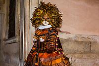 Revelers in carnival costume, Venice Carnival (Carnevale di Venezia), Venice, Italy