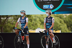 Anna Plichta (POL) and Lauretta Hanson (AUS) on stage at the 2020 La Course By Le Tour with FDJ, a 96 km road race in Nice, France on August 29, 2020. Photo by Sean Robinson/velofocus.com
