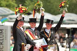 Podium Championship<br /> 1. Sprehe Kristina<br /> 2. Werth Isabell<br /> 3. Von Bredow-Werndl Jessica<br /> German National Championship Dressage - Balve 2015<br /> Balve - Balve Optimum 2015<br /> © Hippo Foto - Stefan Lafrentz<br /> 14/06/15