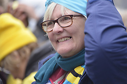 November 12, 2016 - Manchester, England, United Kingdom - Sue Gough, a member of the Frack Free Rydale campaign, attends a protest rally against hydraulic fracturing, also known as 'fracking', on November 12, 2016 in Manchester, England. Hydraulic Fracturing is expected to take place in various locations around England, whilst the Northern Irish, Scottish and Welsh Governments has introduced moratoriums on the gas extraction method. Although fracking is a controversial form of energy extraction, due to environmental concerns, fracking is supposed to provide cheaper and more secure energy for the United Kingdom's domestic energy market. (Credit Image: © Jonathan Nicholson/NurPhoto via ZUMA Press)
