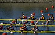 AUSTRALIA, GBR W4X, Silver Medalist, right to left, BATTEN, Guin, LINDSAY, Gillian Anne, GRAINGER, Katherine, BATTEN, Miriam. during the 2000 Olympic Regatta, Penrith Lakes. [Photo Peter Spurrier/Intersport Images], 2000 Olympic Regatta Sydney International Regatta Centre (SIRC) 2000 Olympic Rowing Regatta00085138.tif