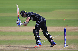 New Zealand's Adam Milne is bowled by Bangladesh's Mustafizur Rahman during the ICC Champions Trophy, Group A match at Sophia Gardens, Cardiff.