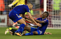 Leicester City's Ahmed Musa celebrates scoring his side's fourth goal of the game with team mates during the Carabao Cup, Second Round match at Bramall Lane, Sheffield.