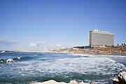 Israel, Tel Aviv Beachfront with Hilton hotel