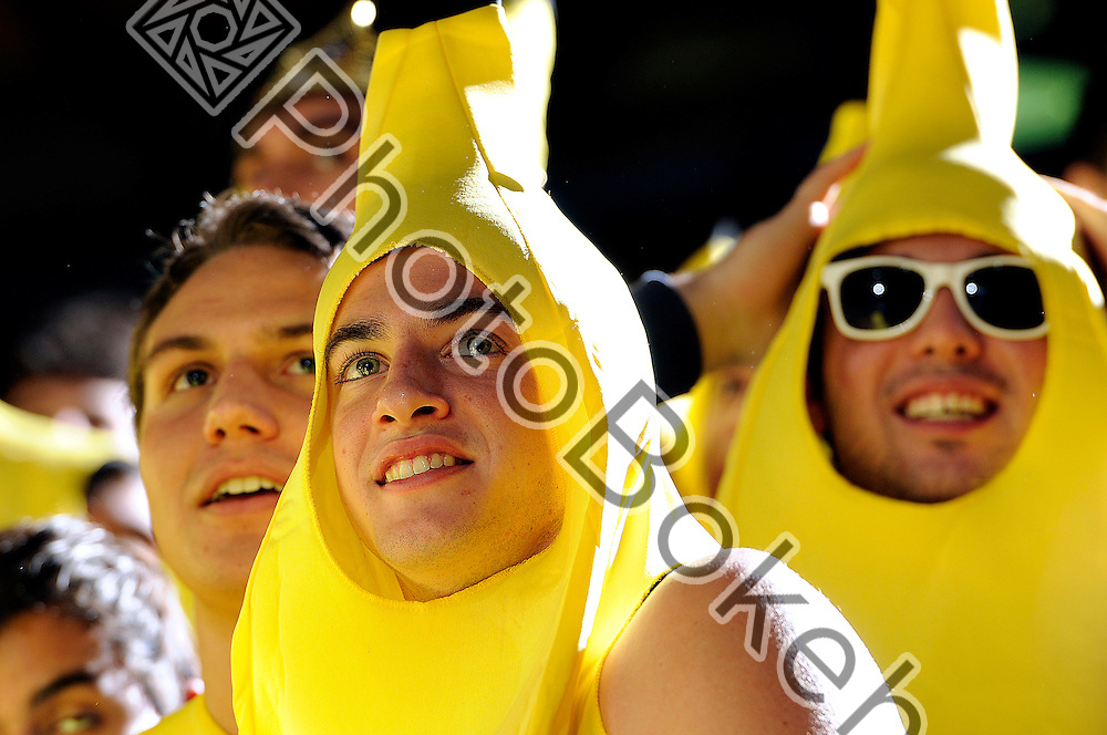 2012 January 13 - Belen's seniors dressed as bananas whilst cheering. Belen Jesuit Wolverines variety basketball fell to the Columbus Explorers, 58-54, at the U.S. Century Bank Arena, Miami, Florida. (Photo by: www.photobokeh.com / Alex J. Hernandez) 1/250 f/5 ISO200 300mm