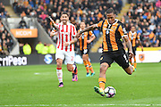 Hull City striker Abel Hernandez (9) takes a shot at goal during the Premier League match between Hull City and Stoke City at the KCOM Stadium, Kingston upon Hull, England on 22 October 2016. Photo by Ian Lyall.
