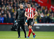 Enda Stevens of Sheffield Utd goes off injured during the Premier League match at Bramall Lane, Sheffield. Picture date: 7th March 2020. Picture credit should read: Simon Bellis/Sportimage
