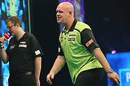 Michael Van Gerwen reaction after missing a shot during the PDC Unibet Premier League darts at Marshall Arena, Milton Keynes, United Kingdom on 24 May 2021.