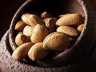 Whole Almonds in the shell stock photos