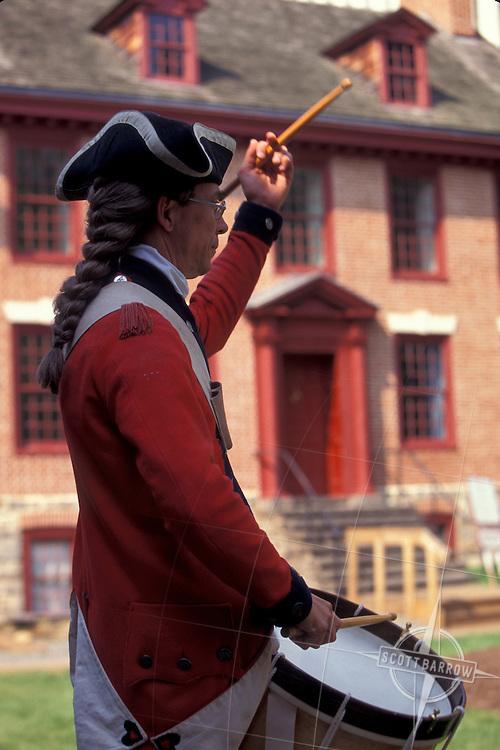 Second New Jersey Regiment, Helms' Company reenactors at the Old Barracks in Trenton, New Jersey.