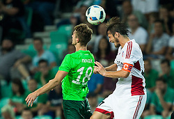 Jakob Novak of NK Olimpija vs Peter Klescik of AS Trencin during 1st Leg football match between NK Olimpija Ljubljana (SLO) and FK AS Trenčin (SVK) in Second Qualifying Round of UEFA Champions League 2016/17, on July 13, 2016 in SRC Stozice, Ljubljana, Slovenia. Photo by Vid Ponikvar / Sportida