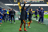Mallik Wilks of Hull City celebrate as Hull City win the league 1 title during the EFL Sky Bet League 1 match between Hull City and Wigan Athletic at the KCOM Stadium, Kingston upon Hull, England on 1 May 2021.