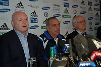 Photo: Tony Oudot.<br /> Chelsea Press Conference. 21/09/2007.<br /> Peter Kenyon Avram Grant and Bruce Buck