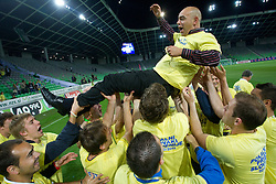 Darko Brljak, head coach and  players of Domzale celebrate after the football match between NK Domzale and NK Maribor in final match of Hervis Cup, on May 25, 2011 in SRC Stozice, Ljubljana, Slovenia. Domzale defeated Maribor and became Slovenian Cup Champion 2011. (Photo By Vid Ponikvar / Sportida.com)