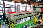 An AGF train for NTV is seen at the Alstom SA factory in Savigliano, Italy, on Friday, Feb. 11, 2011. Photographer: Victor Sokolowicz/Bloomberg