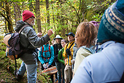 Wendell Wood holds up an Elfin Sack Mushroom