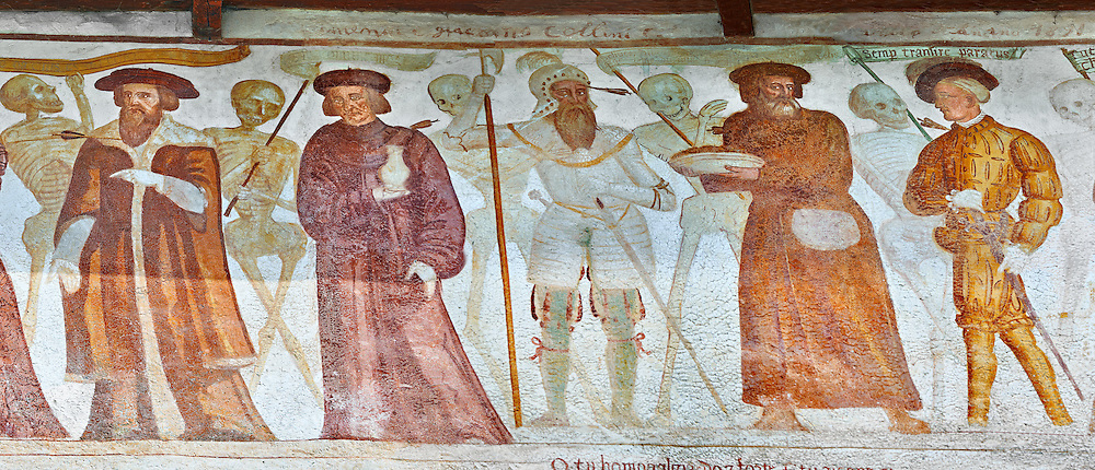 """The Church of San Vigilio in Pinzolo and its fresco paintings """"Dance of Death"""" painted by Simone Baschenis of Averaria in1539, Pinzolo, Trentino, Italy<br /> <br /> Visit our MEDIEVAL ART PHOTO COLLECTIONS for more   photos  to download or buy as prints https://funkystock.photoshelter.com/gallery-collection/Medieval-Middle-Ages-Art-Artefacts-Antiquities-Pictures-Images-of/C0000YpKXiAHnG2k<br /> If you prefer to buy from our ALAMY PHOTO LIBRARY  Collection visit : https://www.alamy.com/portfolio/paul-williams-funkystock/san-vigilio-pinzolo-dance-of-death.html"""