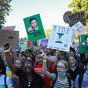 Tens of thousands took to the streets in Central London taking part in the the Global Climate Strike, September 20th 2019, London, United Kingdom.  After the speeches people marched through Parliament Square and Whitehall to let the Government hear their demands. The day of strike for the climate was a global event with millions taking part across the globe. The strike was inspired by Greta Thunberg, a Swedish school girl who started the first school strike for the climate. Her action inspired school children across the world to go on strike demanding radical climate change policies to save their future. On September 20th adults aand children alike went out on strike to demand radical political change and climate justice. The day included speeches and a march through central London.