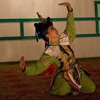 A performer in the famous Mongolian dance and musical troupe, Tumen Ekh, performs a traditional dance in Ulaanbaatar.
