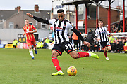 Grimsby Town Forward Wes Thomas (39) crosses ball during the EFL Sky Bet League 2 match between Grimsby Town FC and Milton Keynes Dons at Blundell Park, Grimsby, United Kingdom on 26 January 2019.