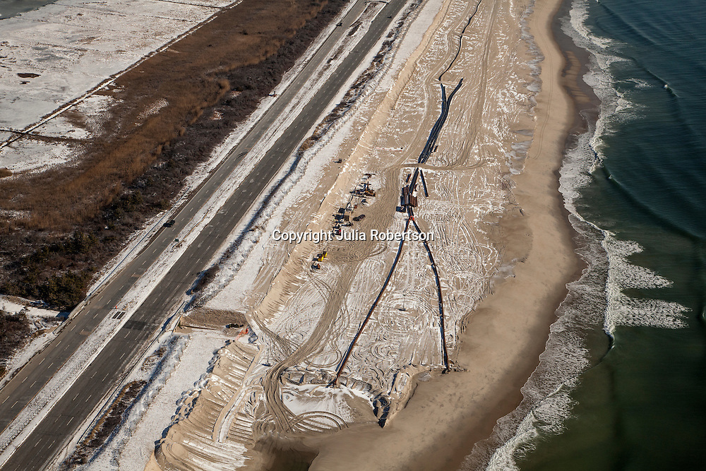 Aerial view of Fire Island New York Dredging